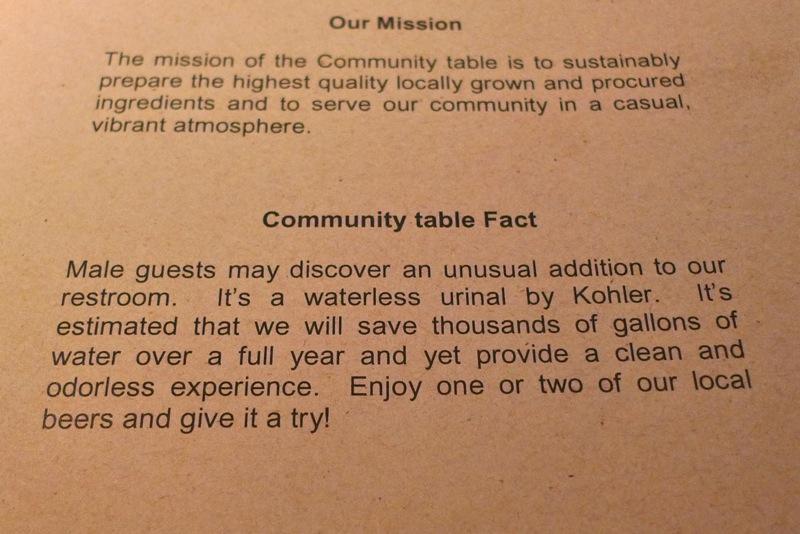 Community table menu blurb