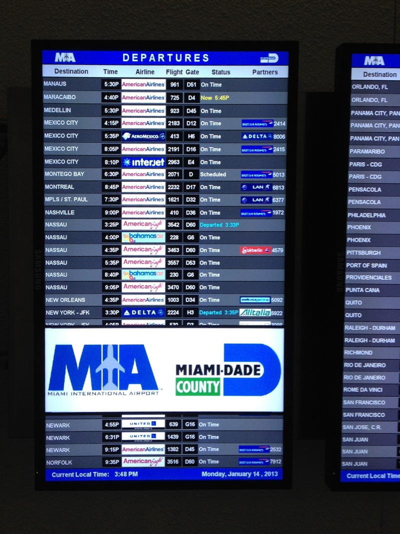 MIA departure board