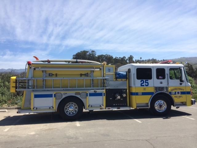 Ventura fire engine with surfboard