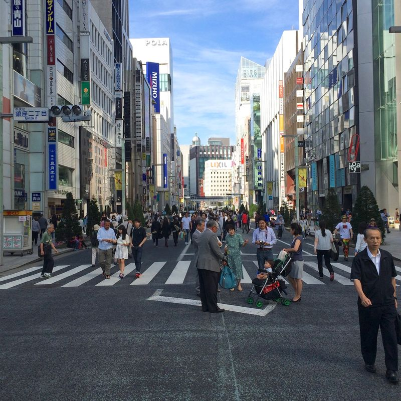 Ginza on Sunday afternoon