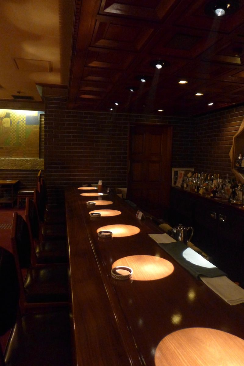 Spotlights at Old Imperial Bar at the Imperial Hotel in Tokyo