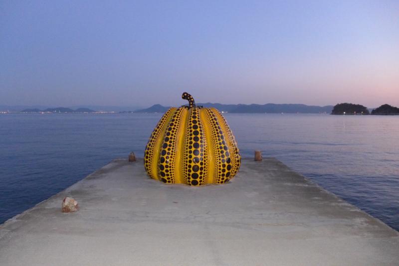 Yayoi Kusama Pumpkin at Benesse House