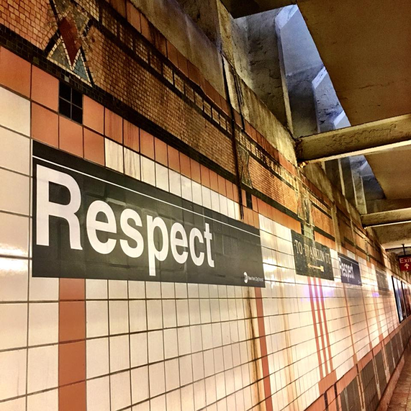 Aretha-Franklin-respect-tribute-at-Franklin-Street-subway-station-by-J