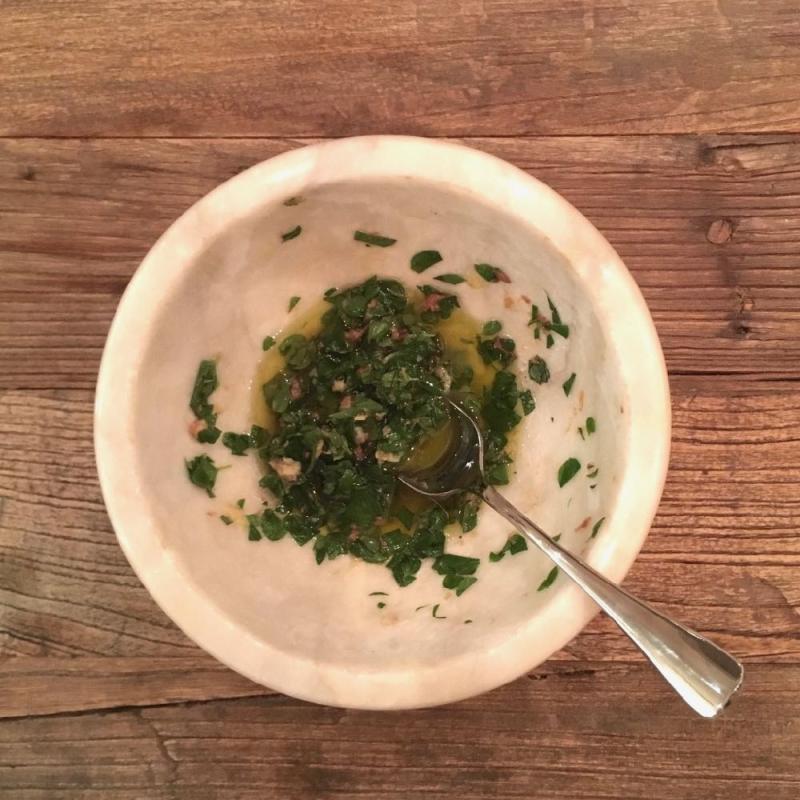 Marjoram anchovy salsa verde Ignacio Mattos