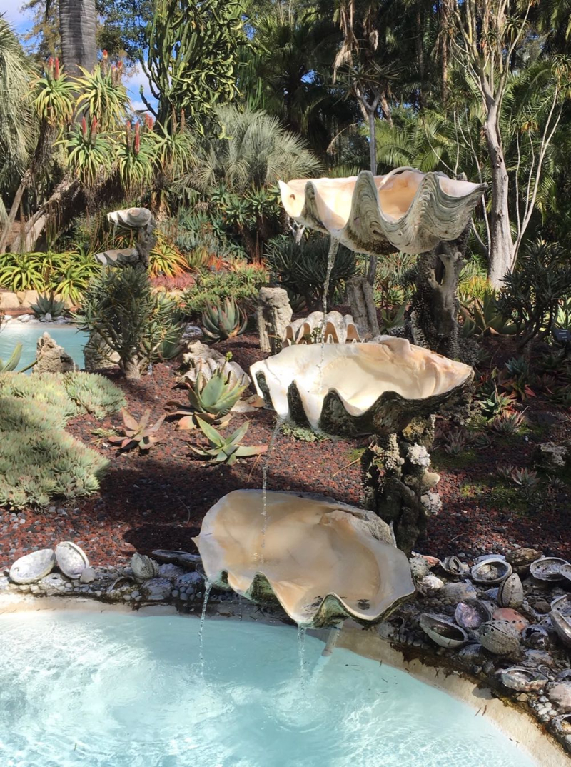 Lotusland clamshell fountain