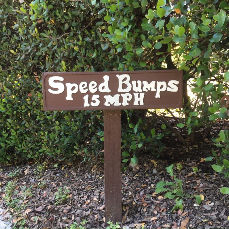 Speed bumps sign in Riven Rock Montecito