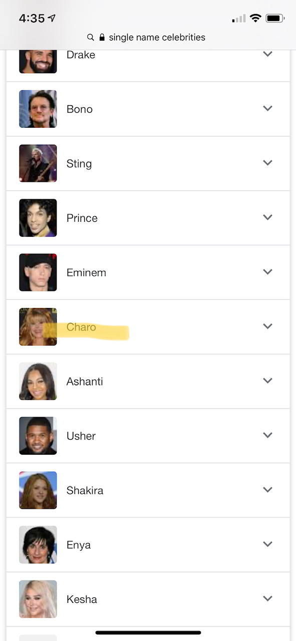 Single name celebrities