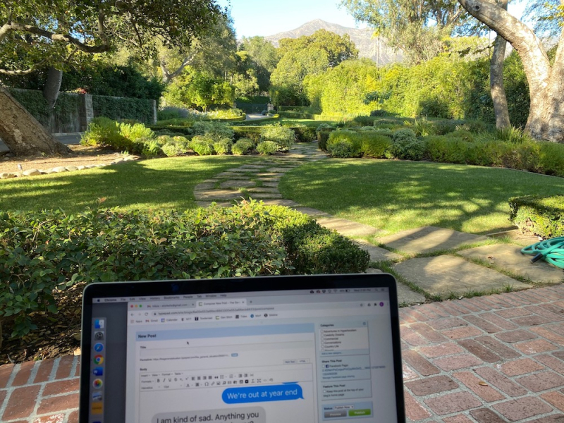 Blogging from front porch